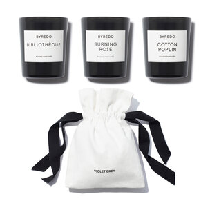 BYREDO Mini Candle Set - Cotton Poplin, Bibliotheque & Burning Rose | @violetgrey