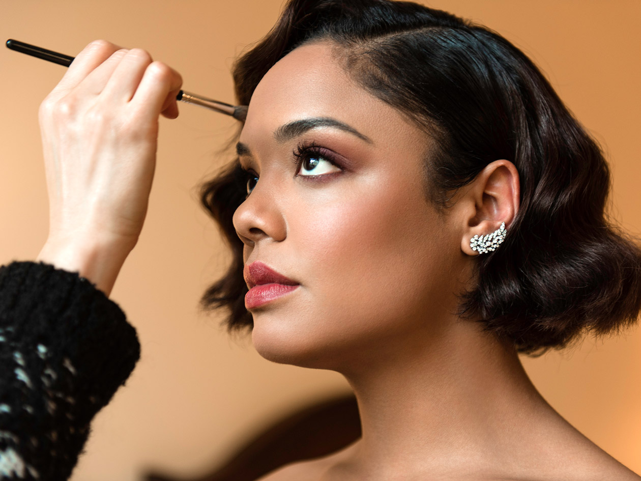 Getting Dressed With Tessa Thompson The Violet Files Grey Color Of Dress Is A Mustard Yellow So I Wanted To Do Rusty Brown On Her Eyes Play These Plum Y Colors